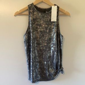 All in Motion Side Tie Metallic Tank Top Small New
